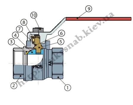 """Кран шаровый для воды со стандартным проходом — IVR 918 В/В DN 1/2"""", 3/4"""", 1 1/4"""",2"""" эскиз"""