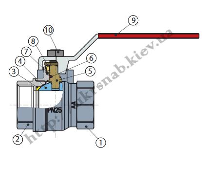 Кран шаровый (бабочка) для воды со стандартным проходом — IVR 919-А В/Н DN 1/2″-1″ эскиз