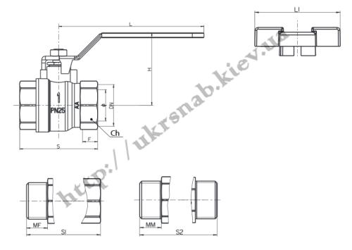 """Кран шаровый для воды со стандартным проходом — IVR 918 В/В DN 1/2"""", 3/4"""", 1 1/4"""",2"""" черетеж"""