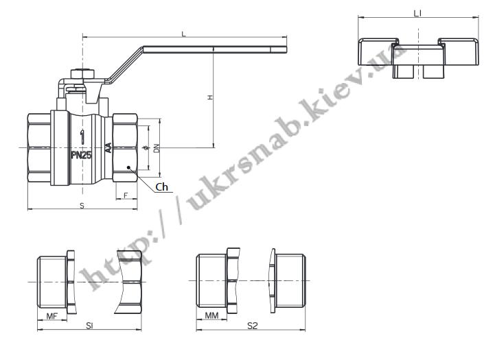 Кран шаровый (бабочка) для воды со стандартным проходом — IVR 918-А В/В DN 1/2″-1″ чертеж