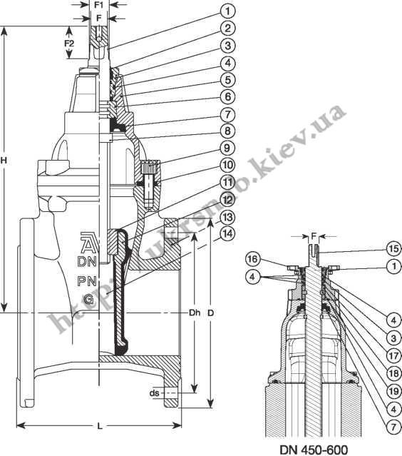 Задвижка AVK фланцевая для газа Серия: 06/70