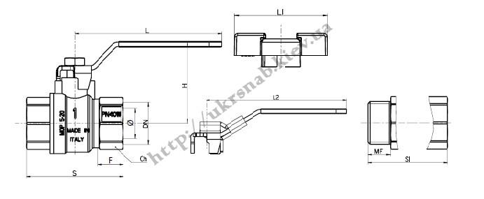 Кран шаровый газовый полнопроходной под опломбировку — IVR 182 LD DN 1/2″-2″, PN16 чертеж